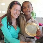 Allison Griffin with a student at Camp Feed the Peace