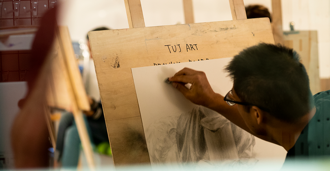 Student in drawing studio - Ryan Brandenberg