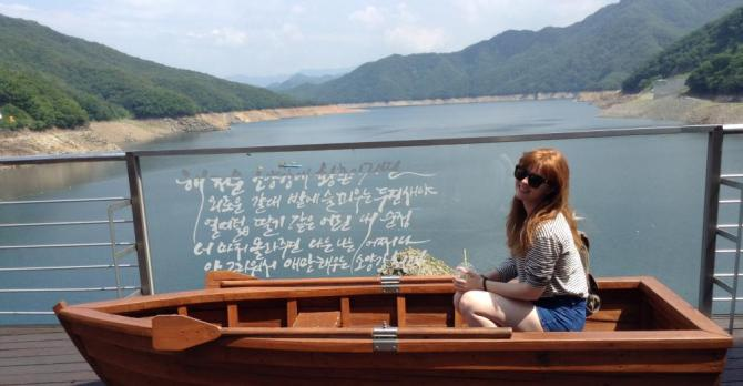 Maddy in a boat Chuncheon