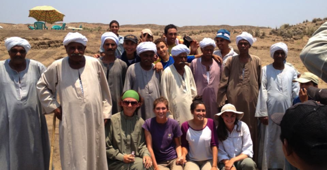 Vira Heinz scholarship recipient, Jordan Galczynski and other students in Egypt.