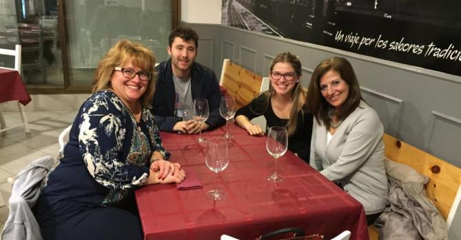 Jessie Bereda with her family and host mom in Spain