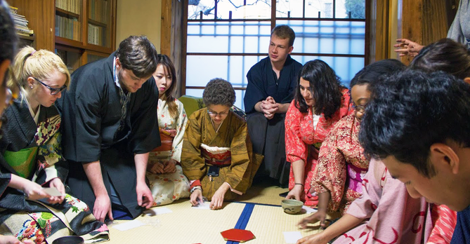 Students at tea ceremony