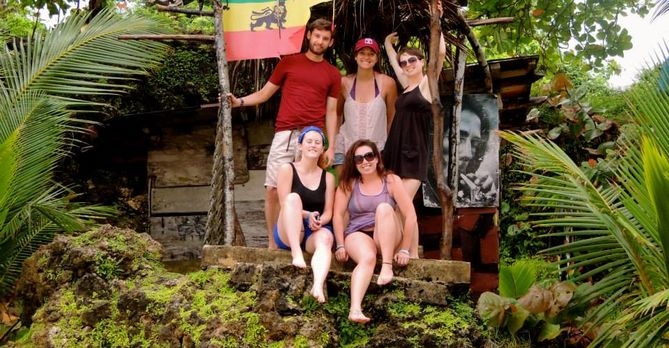 Group of students on an excursion in Jamaica