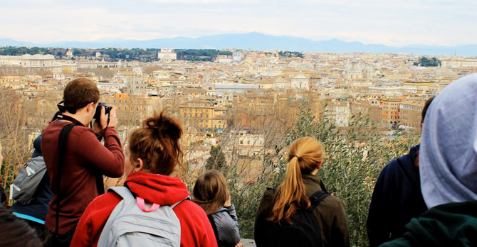 Students overlooking town