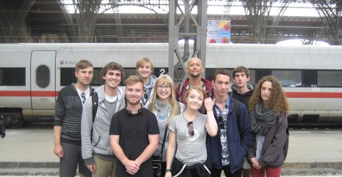 Students on the way to Prague