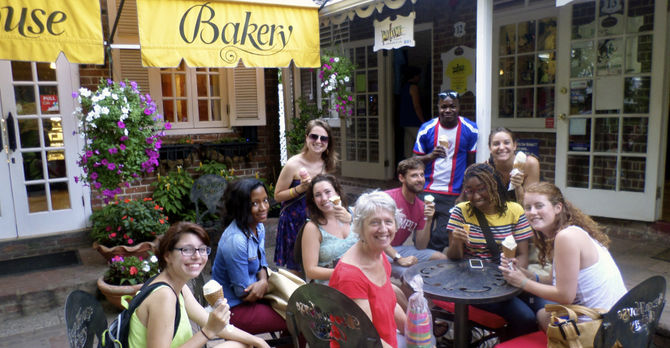 The group stops at a local bakery for ice cream