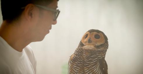 Student and owl - Ryan Brandenberg