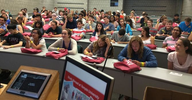 Request a classroom visit (students attend an info session on study abroad)