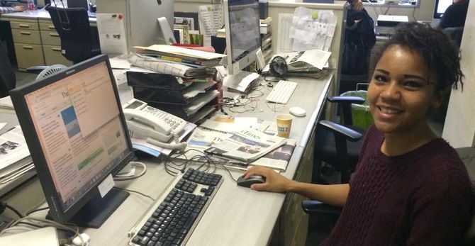 Sarai Flores at her Japan Times internship