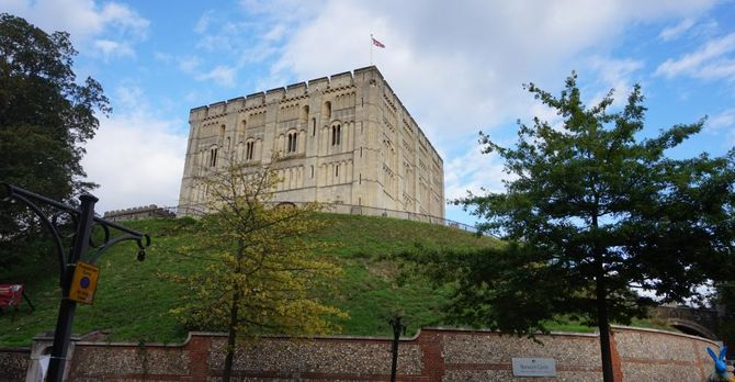 Looking up at Norwich Castle.
